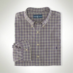 Polo Classic-Fit Purple Check Sportshirt Thumbnail