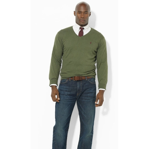 Polo Pima Cotton V-Neck Sweater Thumbnail