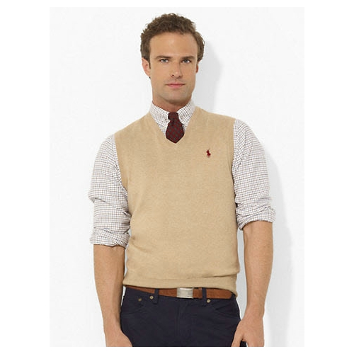 Polo Pima Cotton V-Neck Vest Thumbnail