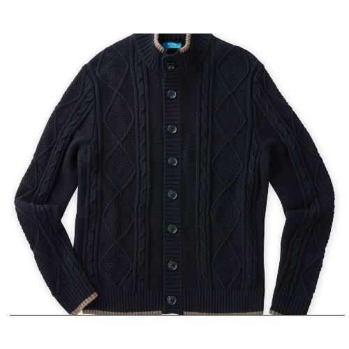 Toscano Diamond Cable Cardigan Sweater Thumbnail