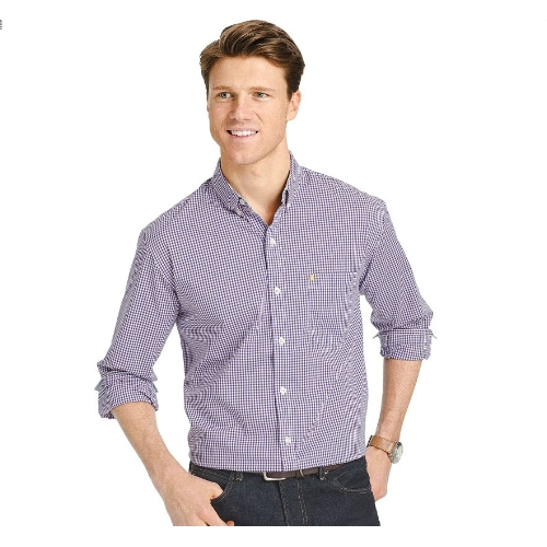 Izod Gingham Check Stretch Sportshirt Thumbnail