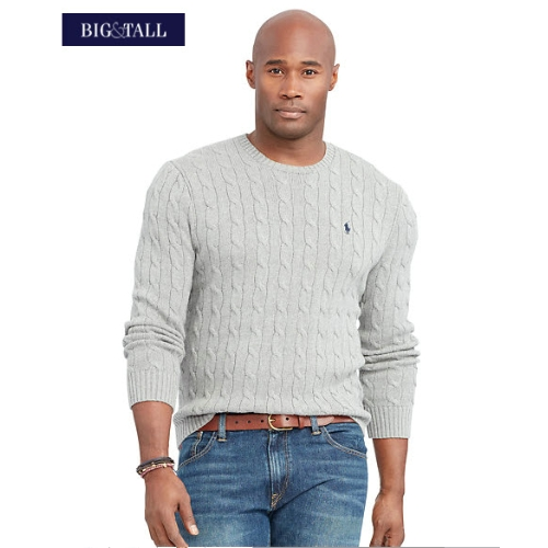 Polo Cable Knit Cotton Sweater Thumbnail