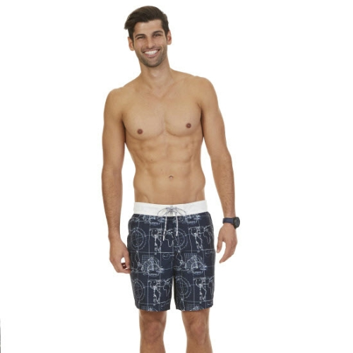 Nautica Quick Dry Map Print Swim Trunk Thumbnail
